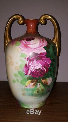 JP Limoges Handpainted Roses 13.5 Muscle Vase Gold Handles & signed