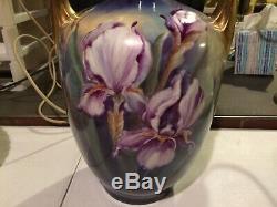 J. P. Jean Pouyat Limoges Hand Painted Large 14 Iris Vase Artist Signed