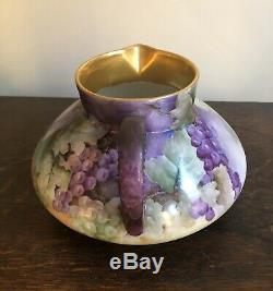 J. Pouyet J P Limoges Art Nouveau Gilt Hand Painted Grape Vine Porcelain Pitcher