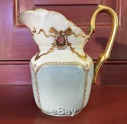 Jean Pouyat France Jeweled Handpainted & Gilt Creamer c. 1890-1902 / JP Limoges