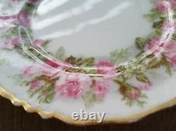 Jean Pouyat Limoge Pink Rose Band Border Cake Dessert Plate Set Hand Paint China