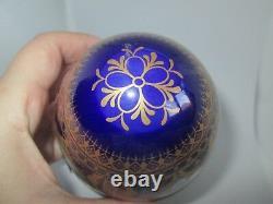 LARGE Baroque Style LIMOGES FRANCE Footed Porcelain EggCobalt Blue & Gold