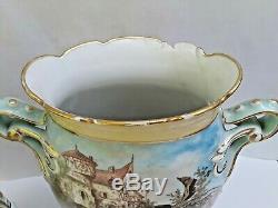 LARGE Pair 13 Antique Hand Painted Bawo Dotter Limoges Scenic Garniture Vases