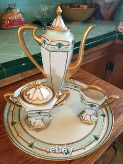 LIMOGES ART DECO HAND-PAINTED COFFEE/CHOCOLATE SET with TRAY 1925 dated, signed