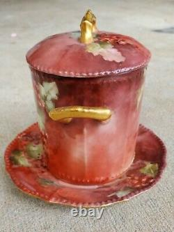 LIMOGES ELITE France Antique Hand Painted CONDENSED MILK CONTAINER w Under Plate