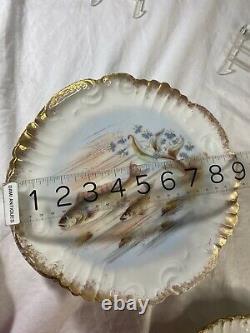 LIMOGES FISH SET SERVING PLATTER GRAVY BOAT 7PLATES HAND PAINTED Signed 23