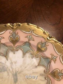 LIMOGES FRANCE HAND PAINTED ART NOUVEAU GOLD GILT CABINET PLATE Embellished