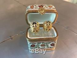 LIMOGES FRANCE Perfume Bottle Hinged Trinket Box Ring Peint Main Hand-Painted