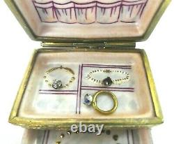 LIMOGES FRANCE TRINKET BOX PEINT MAIN DBL-HINGED BIJOUX CHEST WithJEWELLERY RTD