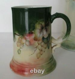 LIMOGES JEAN POUYAT HAND PAINTED PORCELAIN TANKARD PITCHER & MUGS, Signed