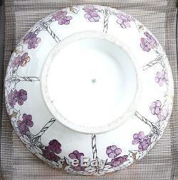 LIMOGES T&V FRANCE Hand Painted Grapes w Gilt 16 Punch Bowl Vintage ANTIQUE 19C
