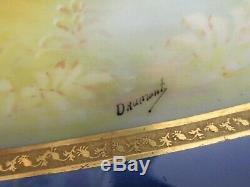 LRL Limoges France Hand Painted Fish Serving Platter Cobalt Blue Gold Signed 24