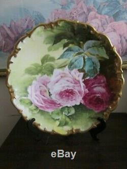L R L Limoges France Handpainted Charger Plate Roses Gold Signed Henrios