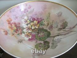 Large Antique Limoges Porcelain France Handpainted Punch Fruit Bowl Roses Flower