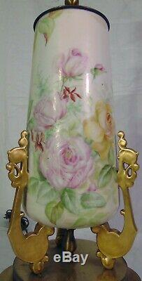 Large French Limoges Hand Painted Porcelain Pink Yellow Rose Vase Lamp