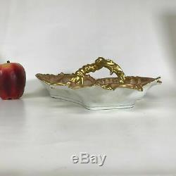 Large Hand Painted Gilt Art Nouveau 3 Section Limoges Handle Serving Dish Bowl