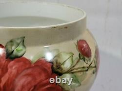 Large Hand Painted Limoges France Jardiniere Flower Pot Roses Artist Signed