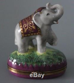 Large Limoges Asprey Site Corot Hand Painted Trinket Box Elephant Bonbonniere