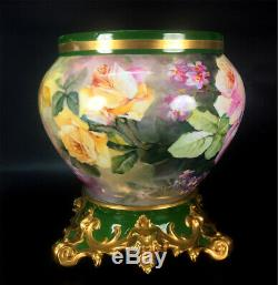 Large Limoges France hand-painted roses Jardiniere on separate base, 1892 -1907