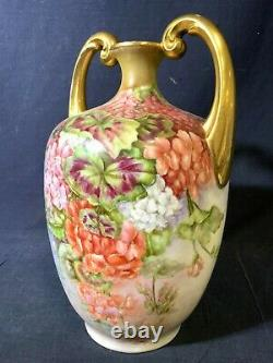 Large Limoges Hand Painted Flower Muscle Vase, Artist Signed