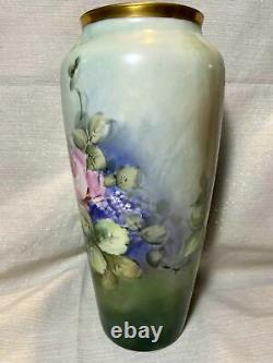 Large Limoges Hand Painted Lilac Rose Vase, Artist Signed