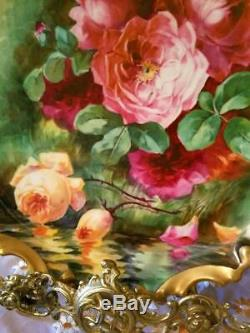 Large Limoges Hand Painted Rose Charger Plaque, Listed Artist Signed, Duval