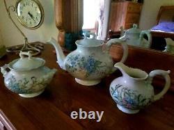 Large Limoges Hand Painted Tea Pot /Creamer Sugar Bowl Set