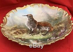 Large Limoges Porcelain Hand painted Birds signed Dubois plate, wall hanging 13