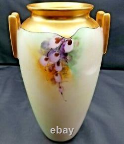 Large Porcelain Hand Painted Vase with Robin Birds & Flowers Signed Jorgensen