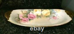 Large Vintage T&V Limoges France hand Painted Serving Dish / Tray Artist Signed