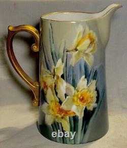 Large all hand painted daffodils T&V LIMOGES water pitcher w gold AWESOME