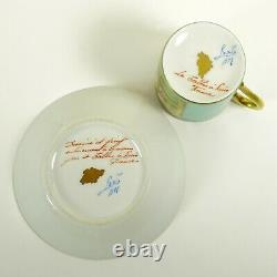 Le Tallec French Porcelain Cup & Saucer Mint & Gold Hand Painted Coastal Scene