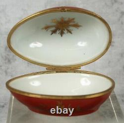 Le Tallec Limoges Burnished 24K Gold Chinoiserie Silhouette Egg Box Paris France