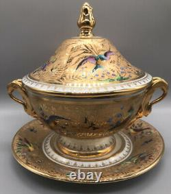 Le Tallec Paris Handpainted Porcelain Handled Covered Tureen & Charger