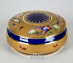 Le Tallec Paris Porcelain Oiseaux Hand Painted Round Box & Lid Cobalt Blue Gold