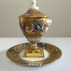 Le Tallec Urn And Plate Porclain Hand Painted France Birds Butterflies
