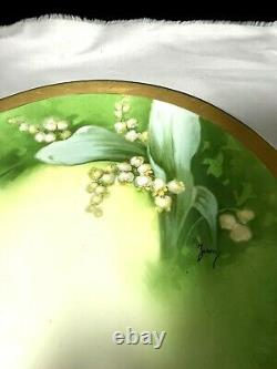 Lily Of The Valley Hand Painted Artist Signed Cornet Limoges France Charger