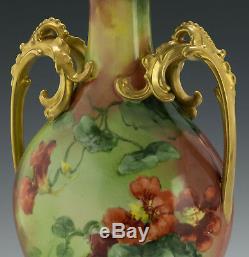 Limoges 13 Hand Painted Nasturtium Vase