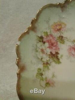 Limoges AK France Green Hand Painted Large Floral Serving Platter & 10 Plates