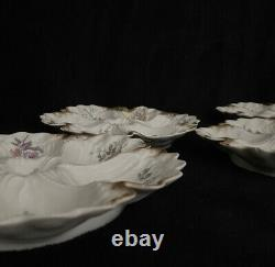 Limoges Antique 5 Hand Painted Oyster Plates Guerin 1900 Gold France