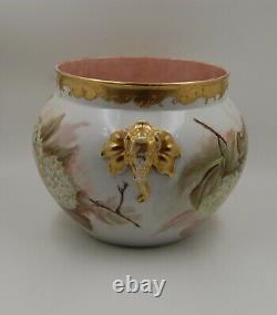 Limoges Antique France Hand Painted Porcelain Jardiniere Vase Hugeee