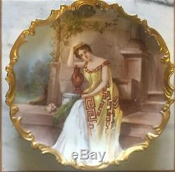 Limoges Antique Hand Painted Porcelain Plate Plaque Charger Signed Dubois LOVELY