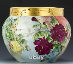 Limoges Antiques Hand Painted Roses Jardiniere Ferner Vase