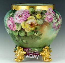 Limoges Antiques Hand Painted Roses Jardiniere Vase & Plinth/base