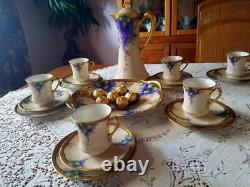 Limoges Art Nouveau Hand Painted Lilac Chocolate Pot Set for 6, Artist Signed