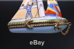 Limoges Artist Hand Painted Sail Boat Porcelain Trinket Box