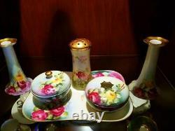 Limoges Bavaria Hand Painted Rose Dresser Vanity Set