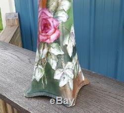 Limoges Beautiful Large Vase 15 Hand Painted Roses