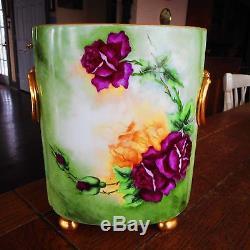 Limoges CACHEPOT Vase-Hand Painted Roses Gold Feet Handles-Artist Signed