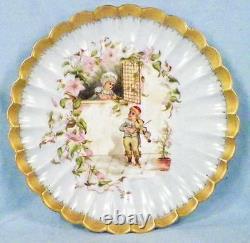 Limoges Cabinet Plate Boy Serenading Girl H & Co Hand Painted Artist Sign 1883